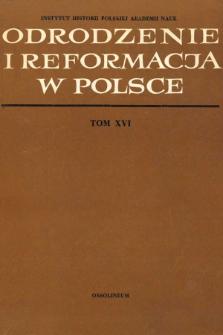 Odrodzenie i Reformacja w Polsce T. 16 (1971), Materiały