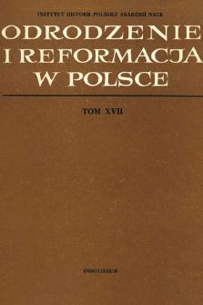 Odrodzenie i Reformacja w Polsce T. 17 (1972), Artykuły i rozprawy