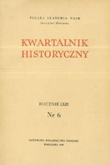Kwartalnik Historyczny R. 63 nr 6 (1956), Artykuły recenzyjne