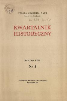 Kwartalnik Historyczny R. 64 nr 1 (1957), Artykuły recenzyjne