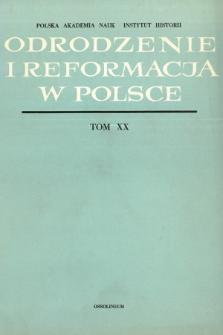 Odrodzenie i Reformacja w Polsce T. 20 (1975), Artykuły i rozprawy