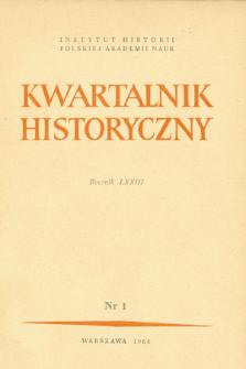 Kwartalnik Historyczny R. 73 nr 1 (1966), Badania nad współczesnością