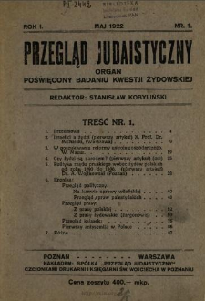 Przegląd Judaistyczny : organ poświęcony badaniu kwestii żydowskiej