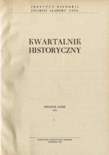 Kwartalnik Historyczny R. 73 nr 4 (1966), Dyskusje i polemiki
