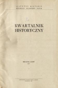 Kwartalnik Historyczny R. 74 nr 3 (1967), Materiały
