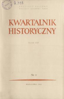 Kwartalnik Historyczny R. 75 nr 3 (1968), Artykuły recenzyjne