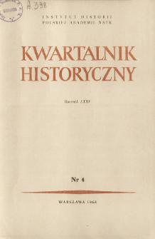 Kwartalnik Historyczny R. 75 nr 4 (1968), Artykuły recenzyjne