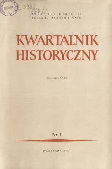 Kwartalnik Historyczny R. 76 nr 1 (1969), Artykuły recenzyjne