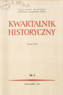 Kwartalnik Historyczny R. 76 nr 2 (1969), Artykuły recenzyjne