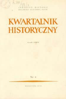 Kwartalnik Historyczny R. 77 nr 4 (1970), Artykuły recenzyjne