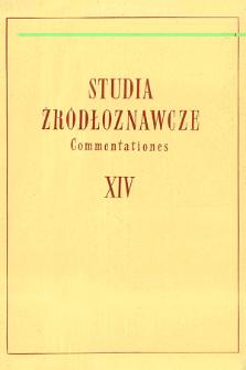 Studia Źródłoznawcze = Commentationes T. 14 (1969)