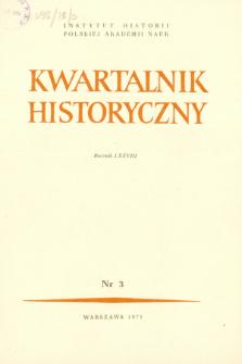 Kwartalnik Historyczny R. 78 nr 3 (1971), Artykuły recenzyjne