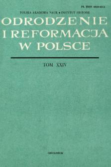 Odrodzenie i Reformacja w Polsce T. 24 (1979), Artykuły i rozprawy