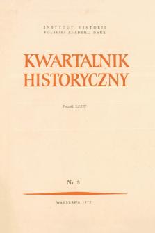 Kwartalnik Historyczny R. 79 nr 3 (1972), Artykuły recenzyjne