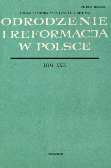 Odrodzenie i Reformacja w Polsce T. 24 (1979), Materiały