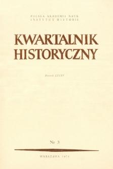 Kwartalnik Historyczny R. 85 nr 3 (1978), Artykuły recenzyjne