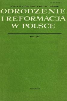 Odrodzenie i Reformacja w Polsce T. 30 (1985), Artykuły recenzyjne