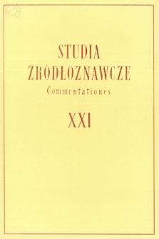 Studia Źródłoznawcze = Commentationes T. 21 (1976), Artykuły i rozprawy