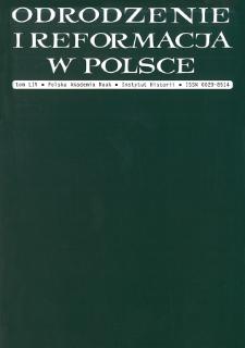 Odrodzenie i Reformacja w Polsce T. 54 (2010), Artykuły i rozprawy