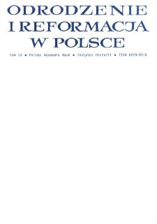 Odrodzenie i Reformacja w Polsce T. 55 (2011), Artykuły i rozprawy