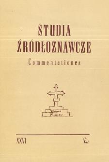 Studia Źródłoznawcze = Commentationes T. 26 (1981), Rocznica Długoszowa