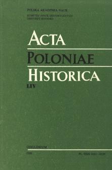 Acta Poloniae Historica. T. 54 (1986), Études