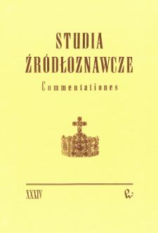 Studia Źródłoznawcze = Commentationes T. 34 (1993), Artykuły i rozprawy