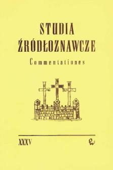 Studia Źródłoznawcze = Commentationes T. 35 (1994), Artykuły i rozprawy