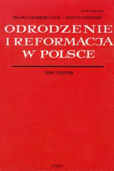 Odrodzenie i Reformacja w Polsce T. 38 (1994), Artykuły i rozprawy