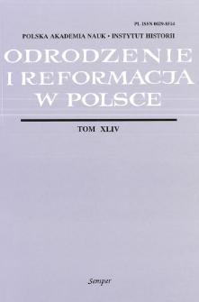 Odrodzenie i Reformacja w Polsce T. 44 (2000), Artykuły i rozprawy