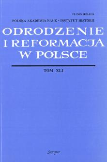 Odrodzenie i Reformacja w Polsce T. 41 (1997), Artykuły i rozprawy