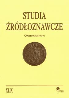 Studia Źródłoznawcze = Commentationes T. 49 (2011), Artykuły recenzyjne