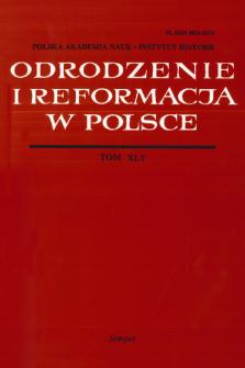 Odrodzenie i Reformacja w Polsce T. 45 (2001), Artykuły i rozprawy