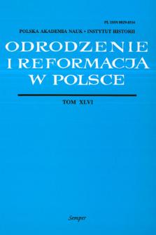Odrodzenie i Reformacja w Polsce T. 46 (2002), Artykuły i rozprawy