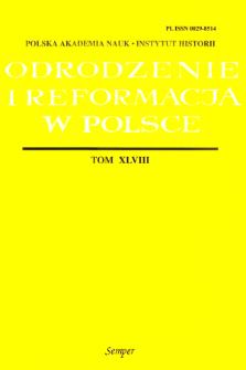 Odrodzenie i Reformacja w Polsce T. 48 (2004), Materiały
