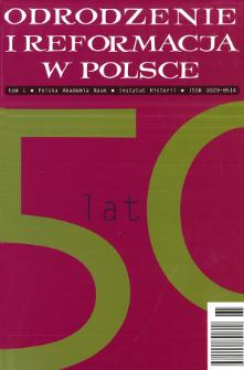 Odrodzenie i Reformacja w Polsce T. 50 (2006), Artykuły i rozprawy