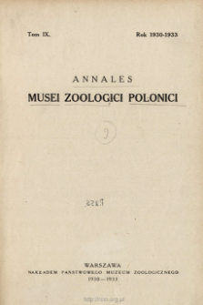 Annales Musei Zoologici Polonici ; t. 9