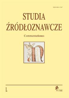 Studia Źródłoznawcze = Commentationes T. 50 (2012), Materiały