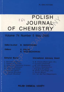 Polish Journal of Chemistry Vol. 74 no. 5 (2000)