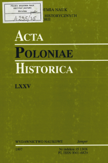 Acta Poloniae Historica. T. 75 (1997), Research in Progress