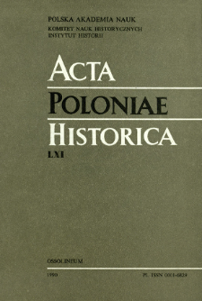 Acta Poloniae Historica. T. 61 (1990), Études