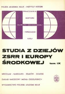 Studia z Dziejów ZSRR i Europy Środkowej. T. 9 (1973), Artykuły i rozprawy