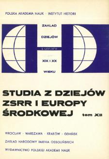 Studia z Dziejów ZSRR i Europy Środkowej. T. 12 (1976), Articles