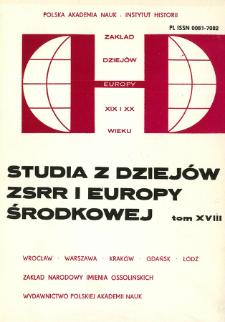 Studia z Dziejów ZSRR i Europy Środkowej. T. 18 (1983), Articles
