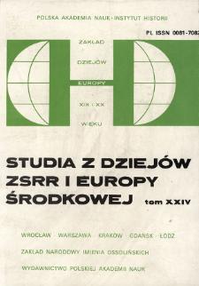 Studia z Dziejów ZSRR i Europy Środkowej. T. 24 (1988), Artykuły i rozprawy