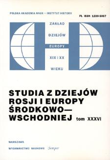 Studia z Dziejów Rosji i Europy Środkowo-Wschodniej. T. 36 (2001), Artykuły i rozprawy