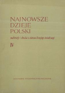 Najnowsze Dzieje Polski : materiały i studia z okresu II wojny światowej T. 4 (1960), Materiały