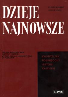 Dzieje Najnowsze : [kwartalnik poświęcony historii XX wieku] R. 30 z. 4 (1998)