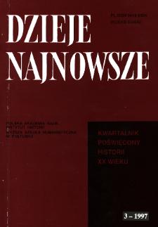Dzieje Najnowsze : [kwartalnik poświęcony historii XX wieku] R. 29 z. 3 (1997), Materiały