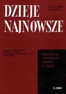 Dzieje Najnowsze : [kwartalnik poświęcony historii XX wieku] R. 32 z. 3 (2000)